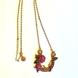 Betsey Johnson Horseshoe Rose Long Necklace Copper
